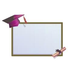 Graduation invitation card with mortars vector