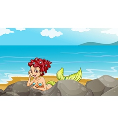 A mermaid at the seashore near the rocks vector