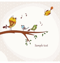 Birds sitting on a tree branch vector