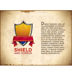 Aged card with shield label with ribbon vector