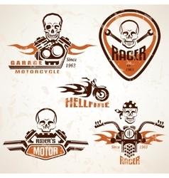Set of vintage motorcycle labels badges and design vector