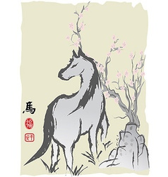 Horse year chinese painting vector