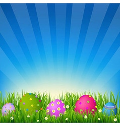 Blue sky with grass easter card vector