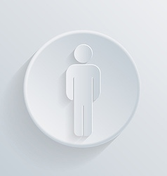 Paper circle flat icon silhouette of a man vector