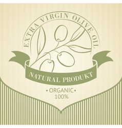 Vintage olive oil label vector