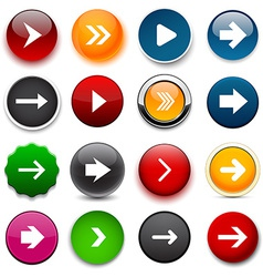 Round color arrow icons vector
