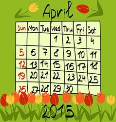 Calendar for april 2015 cartoon style tulips on vector