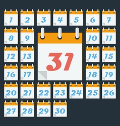 Calendar with days of month flat style vector