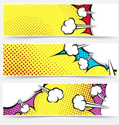 Pop art comic book yellow header collection vector