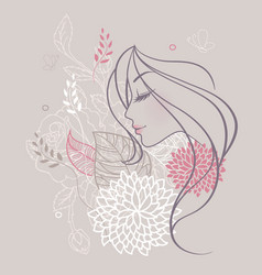 Women profile flowers vector