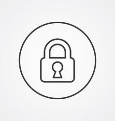 Lock outline symbol dark on white background logo vector