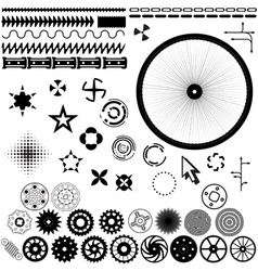Gears stars rotary elements vector