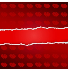 Ragged paper with pattern of hearts vector
