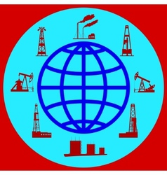 Globe and silhouettes of oil industry vector