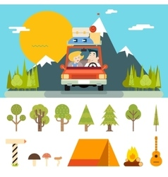 Family trip road car concept flat design icon vector