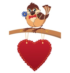 Sparrow in love postcard vector