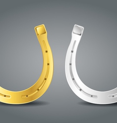 Golden and silver horseshoes vector