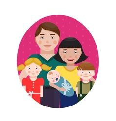 Happy family parents with three children portrait vector