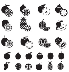 Fruits and piece of fruits icons bw vector
