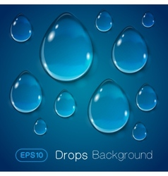 Drops of liquid on blue background vector