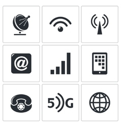 Communication and connection icons set vector