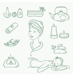 Spa doodle hand drawn sketch icons set with vector