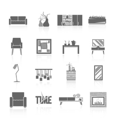 Living room icons set vector