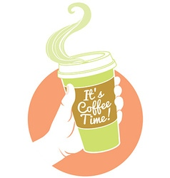 Hand holding dispossable coffee cup cardboard vector