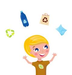 Cute recycling boy vector