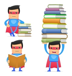 Superhero with books vector