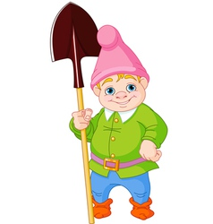 Garden gnome with shovel vector