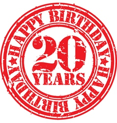 Grunge 20 years happy birthday rubber stamp vector