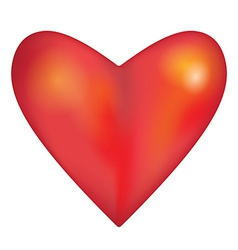 Red glossy shiny three-dimensional heart on white vector
