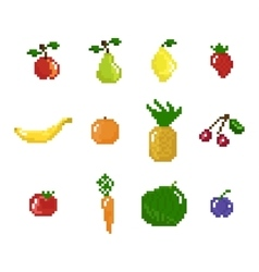 Pixel art style fruits vegetables and berries vector
