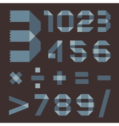 Font from bluish scotch tape - arabic numerals vector