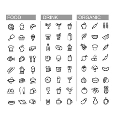 Black beverage food kitchen icons set vector
