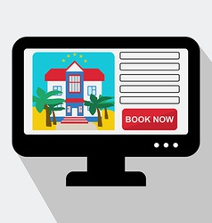 Monitor with hotel website book now in fla vector