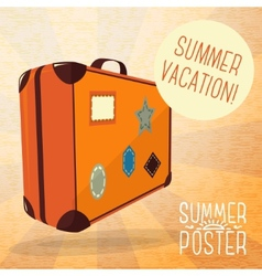 Cute summer poster - journey suitcase with labels vector
