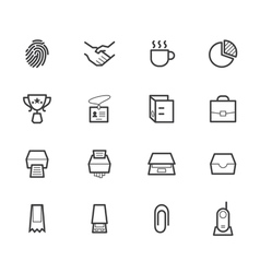 Office black icon set on white background vector