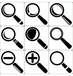 Magnifier glass search find lupe zoom icons vector