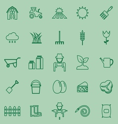 Farming line icons on green background vector