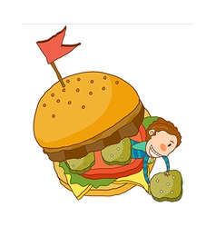 Close-up of boy sitting in burger vector