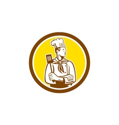 Chef cook holding spatula side view circle vector