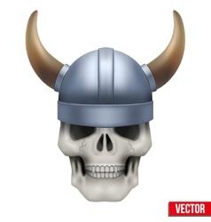 Human skull with viking helmet vector