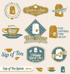 Vintage tea time labels vector