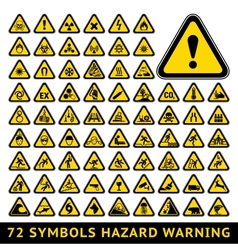 Triangular warning hazard symbols big yellow set vector