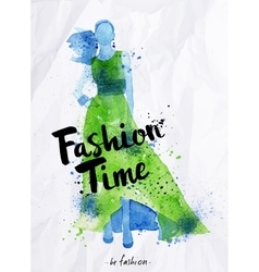Watercolor poster lettering fashion time vector