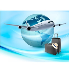 Background with airplane and globe travel concept vector