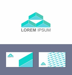 Logo design element with business card template vector