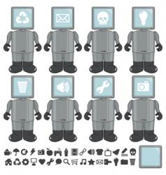Computer heads vector